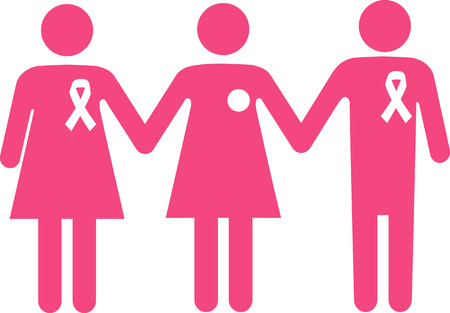 Symbol for a breast cancer patient, undergone mastectomy, with a support group, wearing a ribbon,  EPS 8