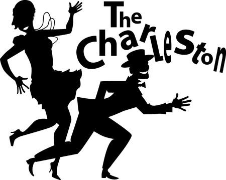 bailarina: Vector silueta negro de una pareja bailando el charlestón, no hay objetos blancos, EPS 8 Vectores