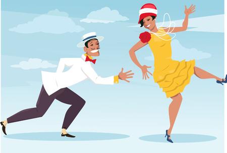 flapper: Pares divertidos dibujos animados vestido con la moda vintage bailando el charlestón, ilustración vectorial, sin transparencias, EPS 8