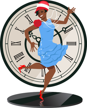Smiling black woman dressed in 1920s fashion clothes dancing the Charleston on a table, vintage clock face on the background, vector illustration, no transparencies, EPS 8 Illustration