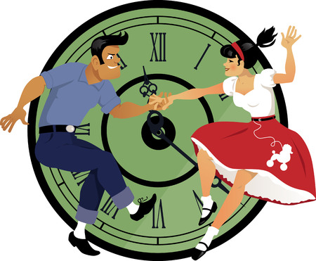 Rock around the clock. Young couple dressed in 1950s fashion dancing rock and roll, clock face on the background. Vettoriali