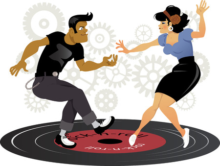 Cartoon rockabilly couple dancing on a vinyl record, gears on the background, ESP 8 vector illustration, no transparencies, no mesh Çizim