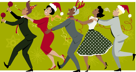 christmas party: Diverse group of people dressed in vintage fashion and Christmas hats dancing Conga line, snowflakes and streamers on the background, EPS 8