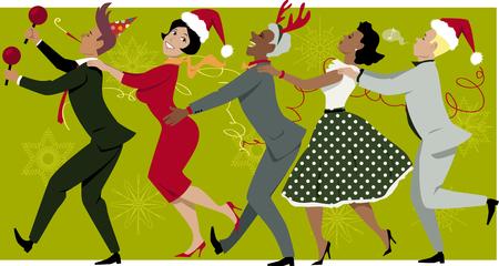 Grupo diverso de personas vestidas de moda vintage y sombreros de la Navidad bailando conga línea, copos de nieve y serpentinas en el fondo, EPS 8