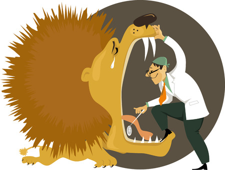 tooth pain: Dentist stepping into an open mouth of a crying lion, examining his teeth, vector cartoon,   no transparencies