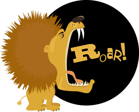 vocals: Cartoon lion roaring, vector illustration, no transparencies, EPS 8
