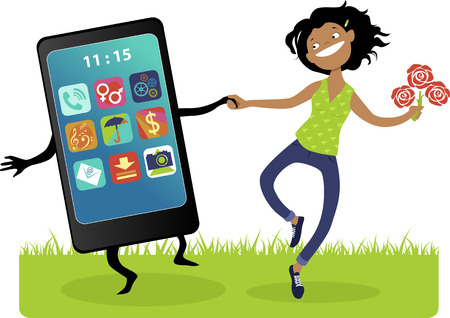 Happy cartoon girl with a bouquet of flowers walking hand in hand with a giant smartphone, vector illustration, no transparencies