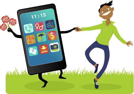 depend: Happy cartoon guy walking hand in hand with a giant smartphone, vector illustration, no transparencies,