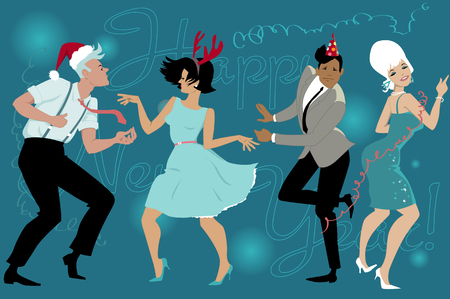taniec: Group of young people dressed vintage fashion dancing celebrating New Year in the club, vector illustration, no transparencies, no mesh Ilustracja