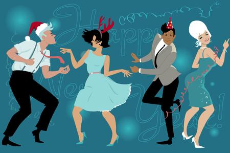 retros: Grupo de jóvenes bailando vestido de la vendimia de la moda que celebra Año Nuevo en el club, ilustración vectorial, sin transparencias, ninguna malla