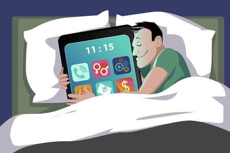 dormir: Feliz el hombre acostado en la cama abrazando a un smartphone gigante, ilustración vectorial, sin transparencias