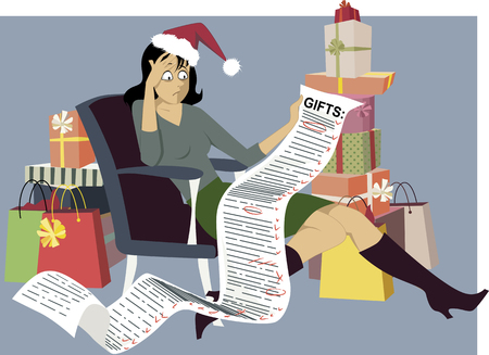 christmas list: Exhausted woman in a Santa hat sitting with a long shopping list of gifts, surrounded by bags and gift boxes, vector illustration