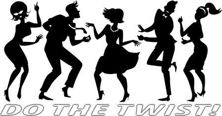 baile: Vector siluetas negras de personas vestidas con ropa de época, bailando el twist, cada figura en una capa separada, no hay objetos blancos