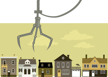 Claw crane hovering over a row of housing representing real estate buyer choice, EPS 8