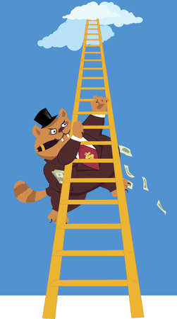 fortune cat: Proverbial Fat cat in a suit and a top hat with pockets full of money Illustration
