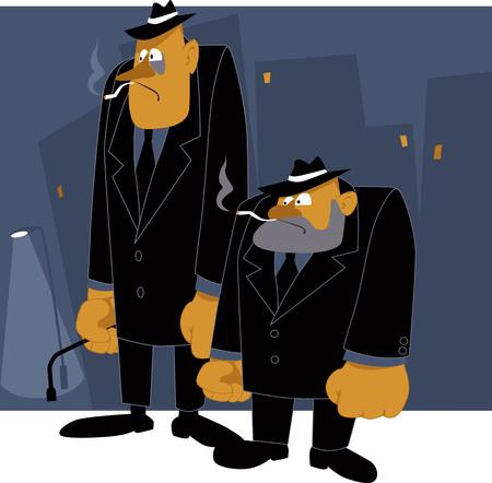 malandros: Dos matones de la mafia de dibujos animados de pie en la noche de fondo urbano, ilustración vectorial
