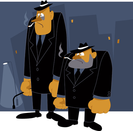 thug: Two cartoon mafia thugs standing on night urban background, vector illustration