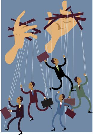 Businessmen or politicians puppets dancing on string, giant hands control them, vector illustration