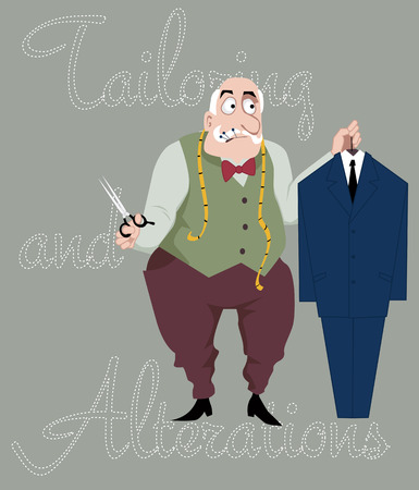 Cartoon tailor with scissors, measuring tape and pins in his mouth holding a suit on a hanger, vector cartoon