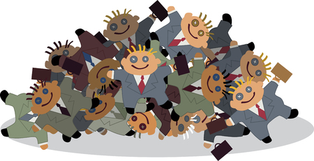 labor market: Pile of businessman rag dolls, vector cartoon, no transparencies Illustration