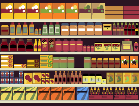 shelves: Grocery store shelves filled with canned and boxed goods Illustration