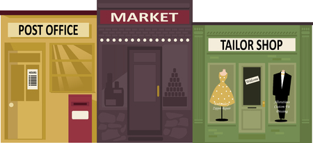 Post office, market and tailor shop store fronts,  Illustration