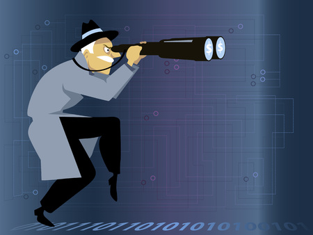 investigations: Man with a giant binoculars walking by a binary code line, stylized electric circuit on the background, no transparencies, no mesh,