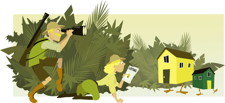 House hunters. Couple dressed in safari style clothes staking out houses with legs hiding in the bushes,  vector illustration, no transparencies