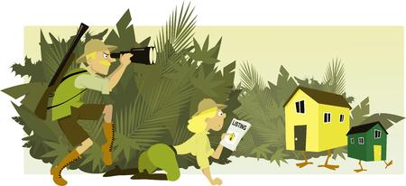 하우스 사냥꾼. 커플 사파리 스타일의 옷을 입고 숲, 벡터 일러스트 레이 션, 아니 투명 필름에 숨어 다리 주택을 감시 할