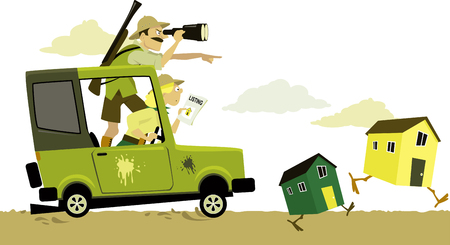 Couple, dressed in safari clothes, pursuing on a jeep running on chicken legs buildings as a metaphor for house hunting,vector illustration, no transparencies