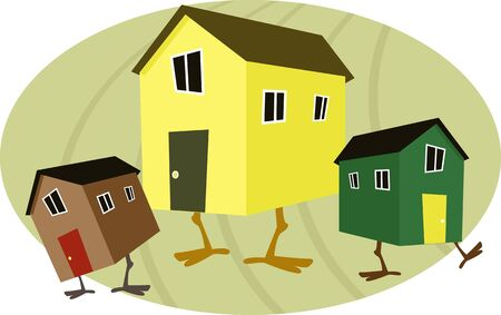 Three cartoon houses with chicken legs on an egg shaped background, symbolizing a nest egg, vector illustration, no transparencies