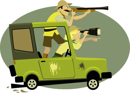 Couple dressed in safari style clothes pursuing game on a jeep with a binocular and a rifle, vector illustration, no transparencies