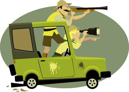 Paar gekleed in safari stijl kleding nastreven spel op een jeep met een verrekijker en een geweer, vector illustratie, geen transparanten Stock Illustratie