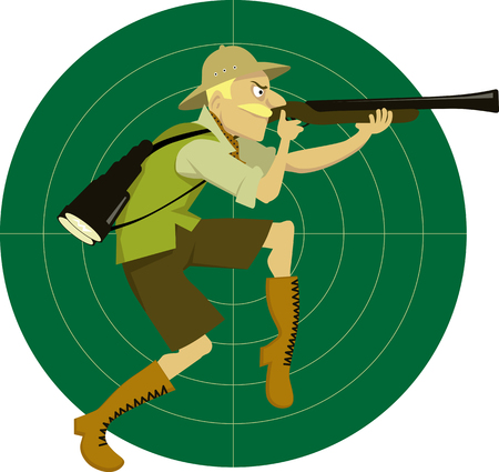 tiptoe: Funny cartoon man in safari clothes on a target background with a reticule walking on tiptoe, with a rifle, aiming, vector illustration