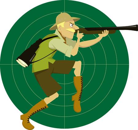 Grappige cartoon man in safari kleren op een doel achtergrond met een tasje lopen op zijn tenen, met een geweer, met als doel, vector illustratie