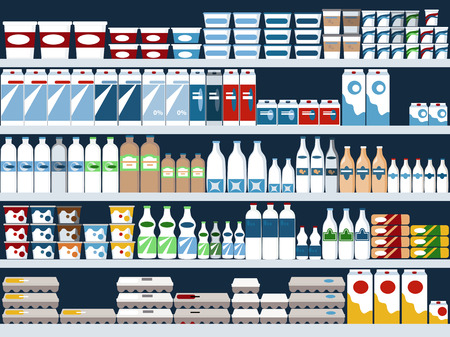 grocery store: Grocery store shelves with dairy products display, vector background, no transparencies