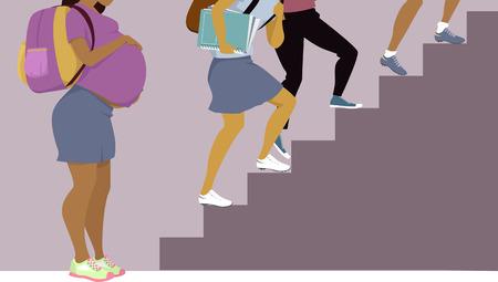 chica embarazada adolescente con una mochila de pie en la parte inferior de las escaleras, otros escolares subiendo, ilustración vectorial, Ilustración de vector