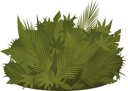 shrub: Tropical shrub background design element, no transparencies, no mesh, vector illustration Illustration