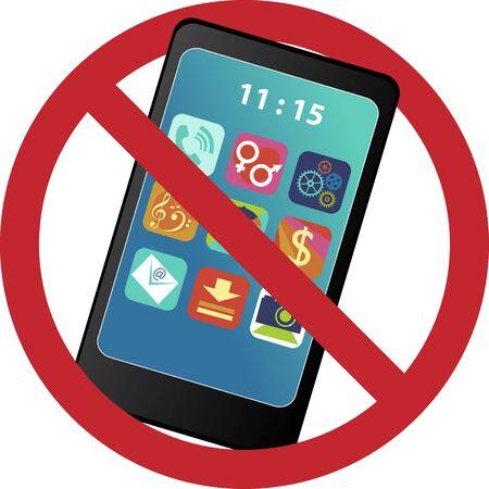 disconnect: No smartphone prohibition sign, vector illustration, , no transparencies, no mesh