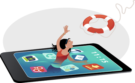 health information: Teenage girl drowning in a smartphone screen, reaching for a lifebuoy, vector illustration, no transparencies, no mesh Illustration