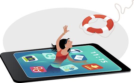 Tienermeisje verdrinken in een smartphone-scherm, het bereiken van een reddingsboei, vector illustratie, geen transparanten, geen mazen