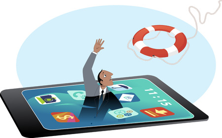Man drowning in a smartphone screen, reaching for a lifebuoy, vector illustration, no transparencies, no mesh