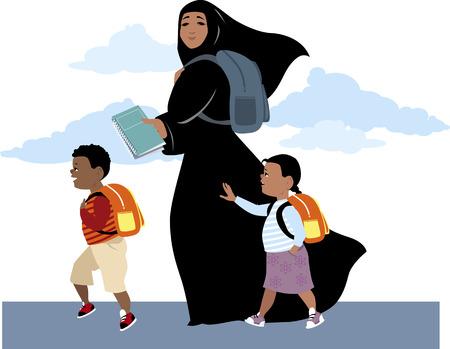 femmes muslim: Femme musulmane, le port du hijab, ce qui porte son fils et sa fille � l'�cole, portant un sac � dos et manuels, illustration vectorielle