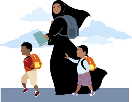 Muslim woman, wearing hijab, bringing her son and daughter to school, carrying a backpack and textbooks, vector illustration Çizim
