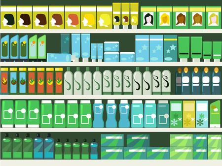 mujer en el supermercado: Pasillo de Farmacia en el supermercado, los estantes llenos de productos para el cabello y belleza, ilustración ESP 8 vector