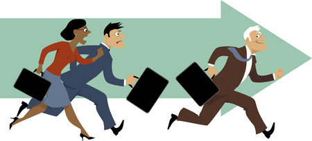 young: Elderly employee leaving behind his younger colleagues, vector illustration
