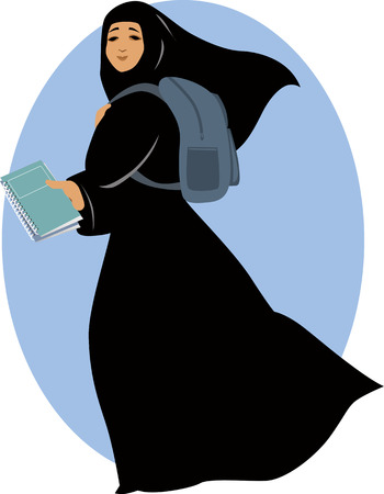 Muslim woman, wearing hijab, going to school with a backpack and textbook, vector illustration