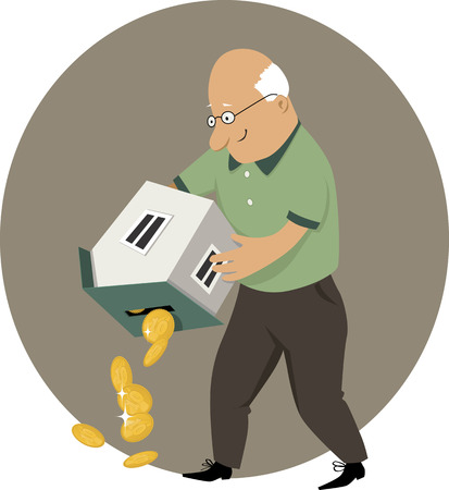 building loan: An elderly man holding a coin bank in a form of a house upside down, money pouring out, EPS 8 vector cartoon, no transparencies