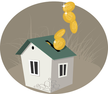 house prices: A penny bank in a form of house, coins pouring in it, vector illustration, no transparencies Illustration