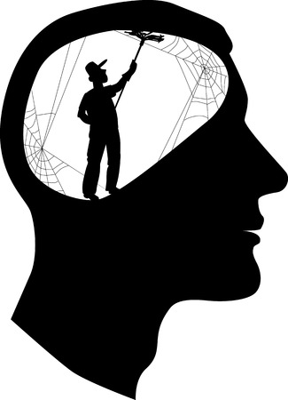 Male profile with a silhouette of a person, cleaning cobweb inside the brain Vettoriali